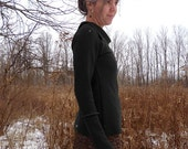 ON SALE - Women's Organic Wool Sweater - Split Cowl Neck - Embroidered Arm Seam - Shown in Black - Made to Order