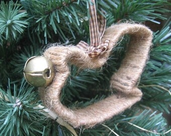 Primitive Sleigh Ornament / Christmas Ornament / Rustic Tree Ornament / Tree Decorations / Jute Twine Decor / Rustic Santa Sleigh / Brown