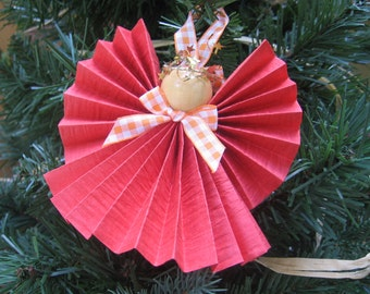 Orange Angel Ornament, Paper Ribbon Angel, Tree Ornament, Angel Collector, Orange, Orange Christmas Decor, Holiday Angels SnowNoseCrafts
