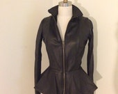 Bombshell leather peplum jacket size small