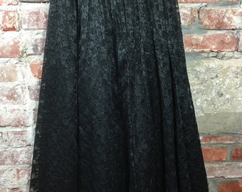 Vintage 80s 90s Lace Peasant Skirt Maxi Skirt