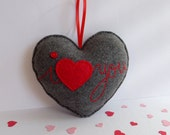 Love handmade heart décor - I love you grey felt heart – hanging Valentine's Day gift ornament - for girlfriend, wife, husband, and lover
