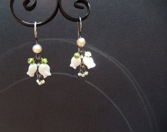 White Pearl Earrings with Sterling Silver and Vintage Bellflowers - Flower Earrings, Summer Trends