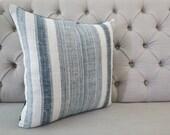 Vintage Indigo batik Hmong cushion cover, Handwoven Hemp Fabric-vintage Homespun hemp