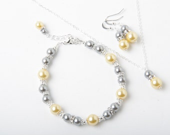 Bridesmaid jewelry set, Yellow and grey earrings and necklace set, grey yellow wedding jewelry, bridesmaid gift, yellow grey bridesmaid set