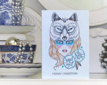 Wolf Goddess of Winter tattoo handmade Christmas card