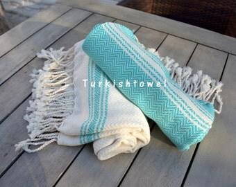 Turkishtowel-Soft-Set of 2-Hand woven,warp&weft cotton Hand,Tea,DishTowel-Herrigbone pattern,Teal and Natural Cream