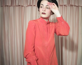 Red Long Sleeve Silk Blouse, 80's, Kenar