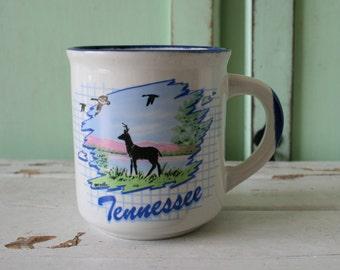 Vintage TENNESSEE Coffee Mug....retro housewares. state. coffee. tea. drink. kitschy. serve. novelty. gift. serving. deer. nashville. bird