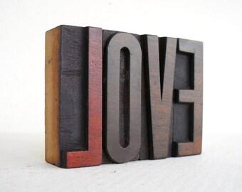 LOVE - 4 Vintage Letterpress Wood Type Blocks Collection - LP048