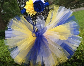 Michigan Baby Tutu in Blue and Gold with Flower Headband - Georgia Tech Tutu Set