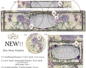 CHRYSANTIUM- NEW! Etsy Shop Display Set Vintage Banner Floral Shop Background Large Small Banner Icon Profile Etsy Tag Label Paper Printable