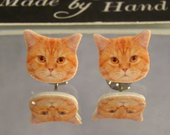 Orange Tabby Cat Stud Earrings - Surgical steel