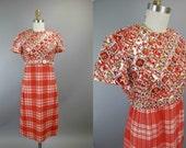 1960s Malcolm Charles Plaid Beaded Metallic Dress