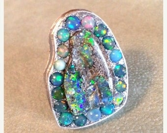 FALL SALE Boulder and ethiopian opal sterling silver ooak ring