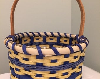Handmade Medium Round Easter Basket - Blue and Yellow