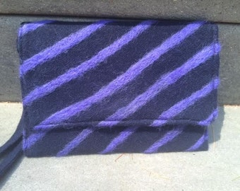 Navy Blue and Purple Striped Clutch