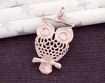 1 of 925 Sterling Silver Rose Gold Vermeil Style Owl Pendant  15x24mm. :pg0259