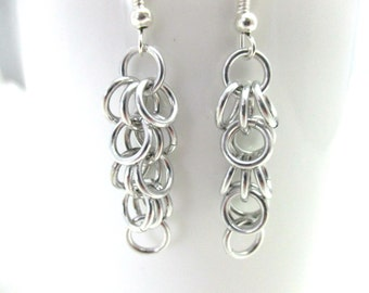 Silver Shaggy Loops Chainmaille Earrings