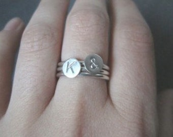 Initial Rings in Sterling Silver