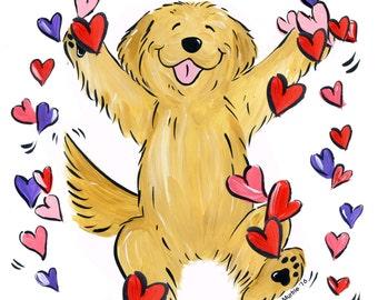 Golden Retriever Dancing Hearts T shirt