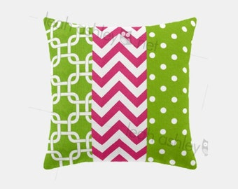 Patchwork Square Pillow Cover - Hot Pink, Lime Green, White - Sophia - P1
