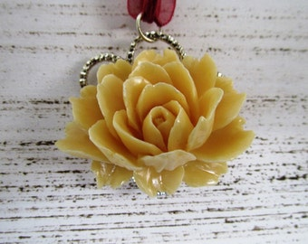 Statement Golden Yellow and Magenta Lotus Pendant Necklace with Bright Yellow Flower and Magenta Wine Organza Ribbon