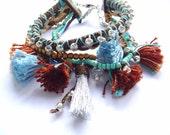 Boho bracelet, Boho Chick bracelet, Boho cuff bracelet, thread bracelet, Tassel bracelet, Fringe breacelet, bracelet, Multi strand bracelet
