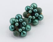 Vintage Signed Japan Faux Pearl Medium Forest Two Tone Green Textured Beaded Traditional Cluster Clip On Earrings