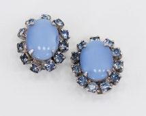 Vintage Silvertone Topaz Blue Glass Rhinestone Semi Precious Gemstone Cats Eye Stone Hollywood Regency Silver Tone Clip On Earrings