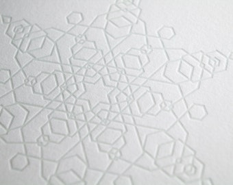 Sublte Snowflake Letterpress Card - Hexagons