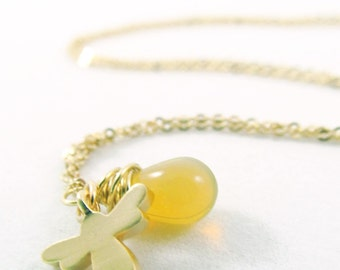 Small Opalescent Honey Drop Necklace with Bee Charm