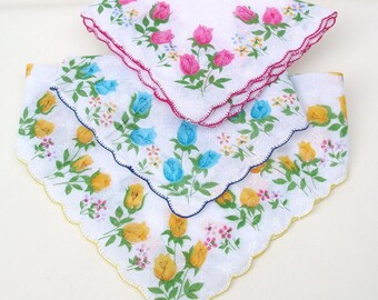 Vintage Ladies Hankies Womens Handkerchiefs Pink Blue Yellow Florals Bridal Accessories