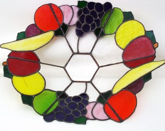 Vintage Fruit Bowl | Display Bowl | Table Centerpiece, | Stain Glass Style | Plexiglass Art | Faux Fruits