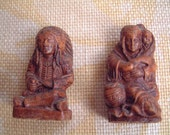 Salt and Pepper- salt and pepper shakers- native American- 1940's- vintage- mohawk trail- syrocco- collectible