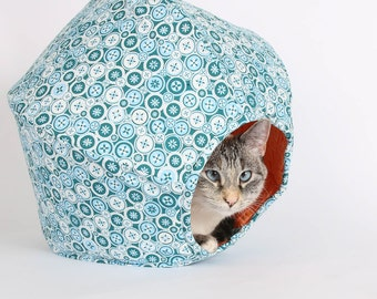 Cat Bed and Cute Play House for Kittens - the mini Cat Ball in Teal and Orange