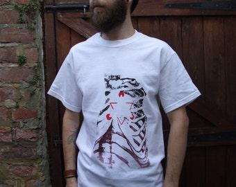 Rib cage and magic eye triangle hand printed white tshirt - anatomical, optical illusion, screen printed, medical, ribs, bones, magic eye