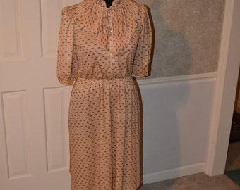 Vintage 80s secretary dress ruffles S-M