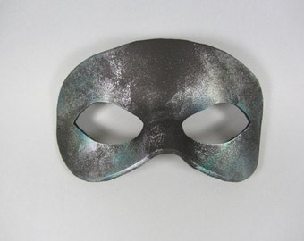 Nebula Teal Leather Masquerade Mask