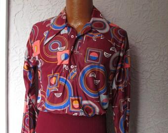 70's Vintage Men's  Campus Disco Art Deco Shirt med.
