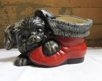 Dog and Boot Planter / Vintage Ceramic Planter Black Dog and Red Boot / Christmas Planter / Ceramic Dog Figurine / Christmas Boot