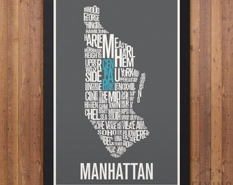 New York City (NYC) Neighborhood Map Print