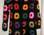 Crochet granny square  hippie boho bohemian 1960-s black kaleidoscope festival coat jacket cardigan with multicolour flowers OOAK