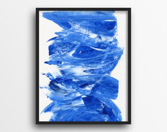 Blue Abstract Print Living Room Decor Blue Room Decor Blue Giclee Print Abstract Artwork Unique Art For Home Interior Design Wall Decor