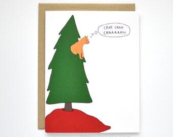 funny christmas card cat christmas card cat card - Christmas Card Tree