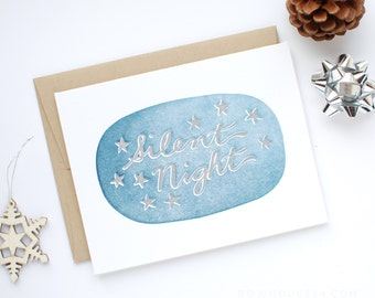 Holiday Card - Letterpress Christmas Card - Silent Night