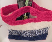 Hand Crocheted Patriotic Tote/Bag/Purse in Red, white and blue