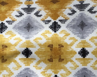 New ONE Yard Mill Creek Screen Printed Geometric Grey Gold Southwest Fabric Cotton Duck type Fabric 1 Yard   6 Yards Available Grey Gold