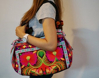 Hmong Pom Pom Bag, Hilltribe Bag, Embroidered Bag, Hmong Handbag, Tribal Tote Bag, Thai hmong bag, Ethnic bag, Boho tote bags