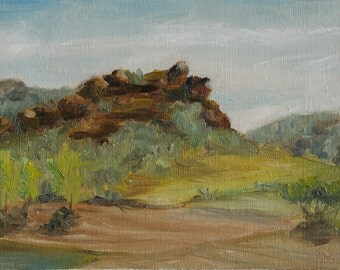 Red Rock, plein air oil painting, landscape painting